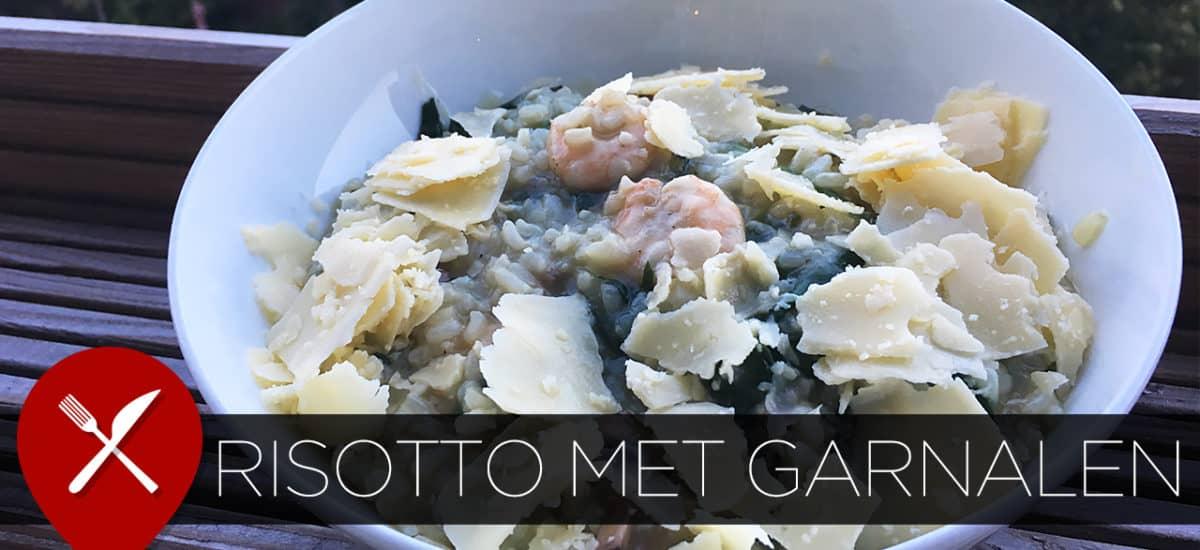 Smeuïge risotto met spinazie en garnalen